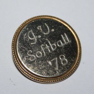 Vintage gold and silver brooch J.V. Softball '78